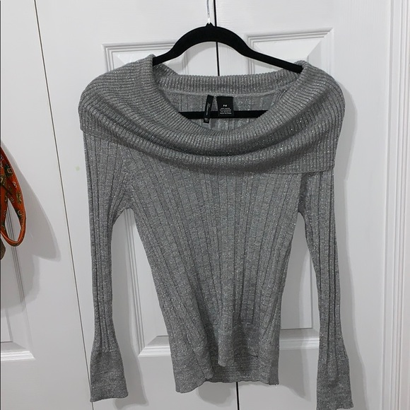 new directions Sweaters - Silver Scoop-neck Sweater